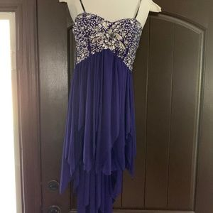 B. Darlin Purple Beaded Cocktail High-Low dress